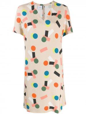 Платье-трапеция с узором Akris Punto. Цвет: нейтральные цвета