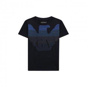 Хлопковая футболка Emporio Armani. Цвет: синий