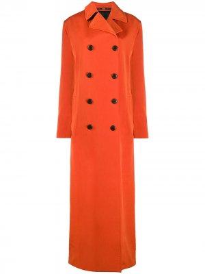 Двубортное пальто макси 2000-х годов Gianfranco Ferré Pre-Owned. Цвет: оранжевый