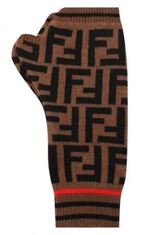 Митенки из смеси кашемира и шерсти Fendi. Цвет: коричневый