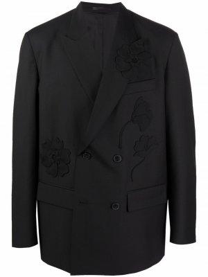 Пиджак с аппликацией Valentino. Цвет: черный