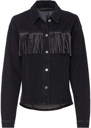 Куртка джинсовая bonprix. Цвет: черный
