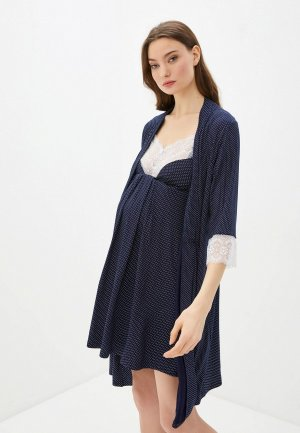 Халат и сорочка ночная Hunny mammy. Цвет: синий