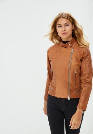 Куртка кожаная Ne.Ra Collezioni. Цвет: коричневый