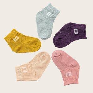5 пар носки с узором цифры для мальчиков SHEIN. Цвет: многоцветный