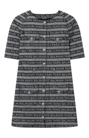 Хлопковое платье Balmain. Цвет: синий