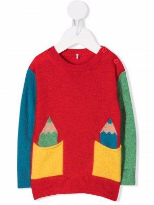 Colour-block wool-blend jumper Stella McCartney Kids. Цвет: красный
