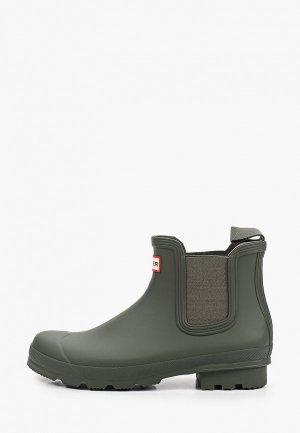 Резиновые ботинки Hunter. Цвет: хаки