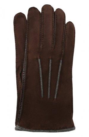 Замшевые перчатки Loro Piana. Цвет: темно-коричневый