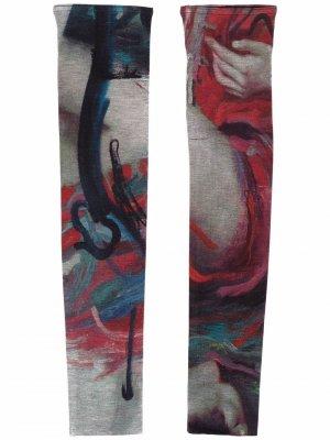 Graphic print arm gloves Yohji Yamamoto. Цвет: красный