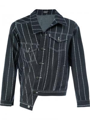 Джинсовая куртка с полосатым узором Andrea Crews. Цвет: синий