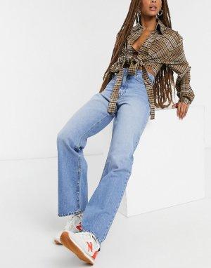 Синие широкие джинсы с завышенной талией -Синий Dr Denim