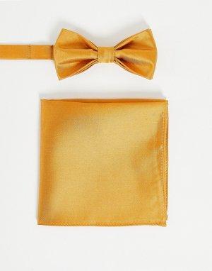 Однотонные галстук-бабочка и платок для нагрудного кармана Wedding-Золотистый Devils Advocate