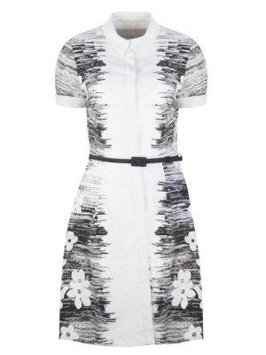 Хлопковое платье с принтом CAROLINA HERRERA. Цвет: белый