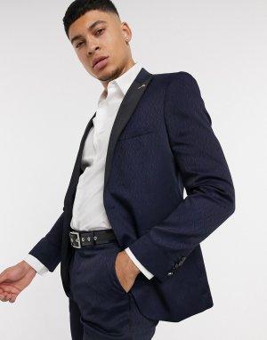 Темно-синий приталенный жаккардовый пиджак с атласными лацканами Shelby & Sons