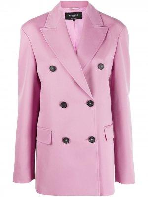 Приталенное двубортное пальто Rochas. Цвет: розовый
