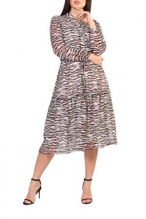 Платье Forus. Цвет: молочный, коричневый