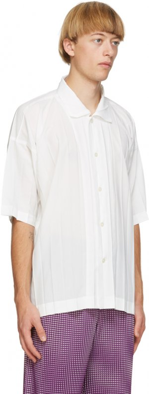 White Edge Short Sleeve Shirt Homme Plissé Issey Miyake. Цвет: 01 white