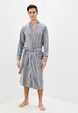 Халат домашний Lika Dress. Цвет: серый