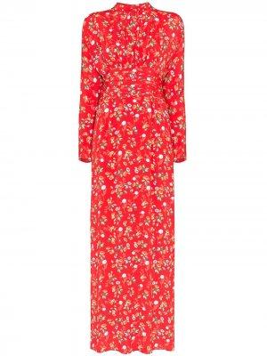 Платье макси с цветочным принтом byTiMo. Цвет: красный
