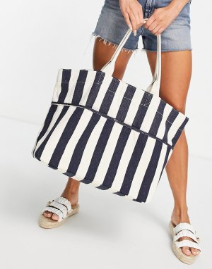 Пляжная сумка-тот в полоску темно-синего и кремового цвета -Голубой Accessorize