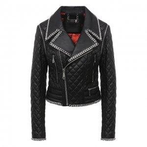 Кожаная куртка Philipp Plein. Цвет: чёрный