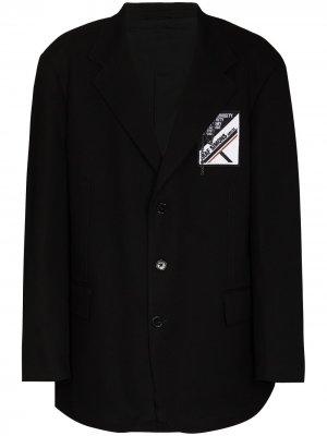 Однобортный пиджак с нашивкой-логотипом Raf Simons. Цвет: черный