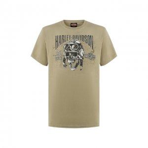 Хлопковая футболка Exclusive for Moscow Harley-Davidson. Цвет: хаки