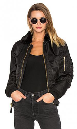 Куртка-бомбер с воротником из искусственной шерсти b-15 slim fit ALPHA INDUSTRIES. Цвет: черный