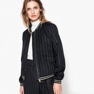 Куртка-бомбер на молнии 50% шерсти SUNCOO. Цвет: в полоску темно-синий/белый