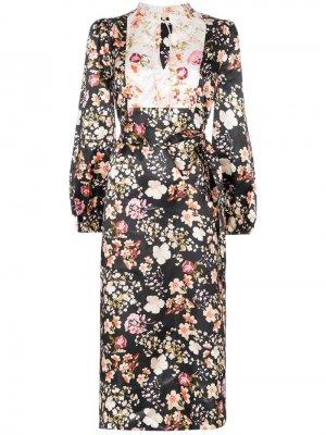 Платье миди с цветочным принтом и контрастной вставкой byTiMo