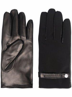 Кожаные перчатки Emporio Armani. Цвет: черный