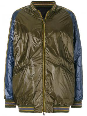 Длинная куртка-бомбер Herno. Цвет: зелёный