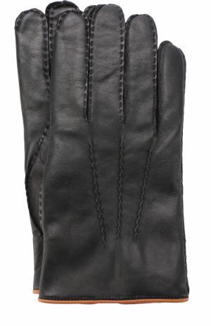 Кожаные перчатки с кашемировой подкладкой Ermenegildo Zegna. Цвет: черный