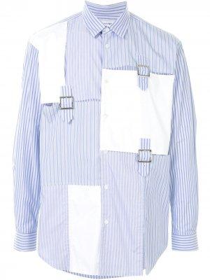 Полосатая рубашка с пряжками Comme Des Garçons Shirt. Цвет: синий