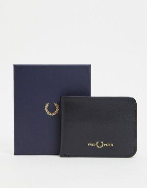 Черный кожаный бумажник -Черный цвет Fred Perry