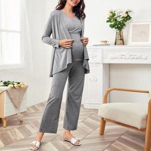 Майка на запах и широкие брюки пальто для беременных SHEIN. Цвет: серый