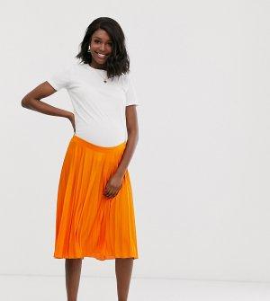Плиссированная юбка миди с посадкой под животом ASOS DESIGN Maternity-Оранжевый Maternity