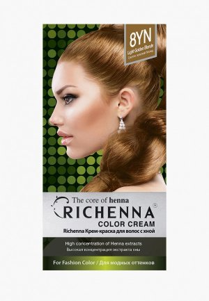 Краска для волос Richenna с хной № 8YN, Light Golden Blonde. Цвет: желтый