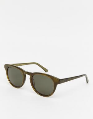 Солнцезащитные очки в круглой оправе Timeless Han Kjobenhavn. Цвет: зеленый