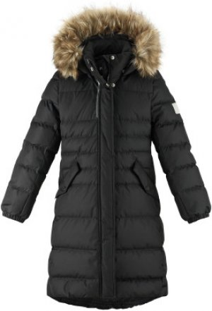 Пальто пуховое для девочек Satu, размер 140 Reima. Цвет: черный