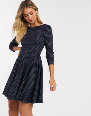 Темно-синее короткое приталенное платье с рукавами 3/4 -Темно-синий Closet London