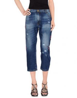 Джинсовые брюки-капри FRANKIE MORELLO. Цвет: синий