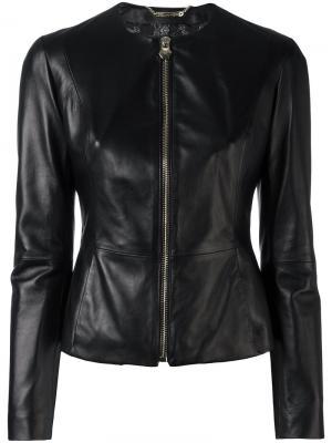Приталенная кожаная куртка Philipp Plein. Цвет: чёрный