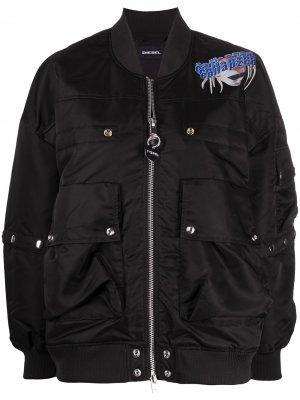 Куртка-бомбер с графичным принтом Diesel. Цвет: черный