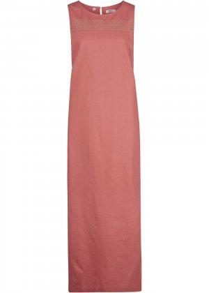 Платье льняное без рукавов bonprix. Цвет: красный