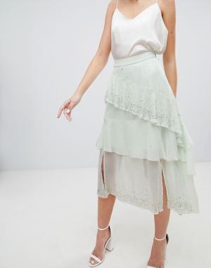 Асимметричная юбка миди с оборками и отделкой -Зеленый ASOS DESIGN