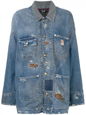 Джинсовая куртка оверсайз с эффектом потертости R13