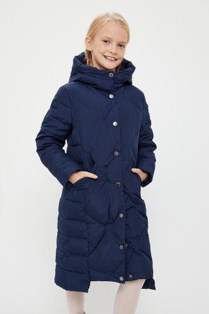 Пальто для девочки Finn-Flare. Цвет: темно-синий