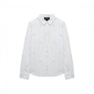 Хлопковая рубашка Emporio Armani. Цвет: белый